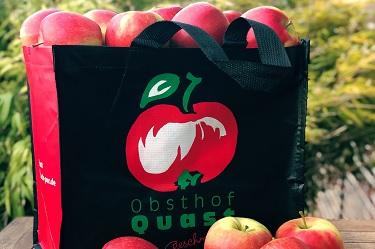 Tasche, Äpfel, Apfel, Obst, Einkaufstasche, Wochenmarkttasche, Mehrweg, Mehrwegtasche,